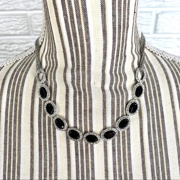 Monet Black & Clear Rhinestone Necklace
